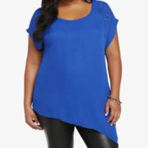 Asymmetrical Blue  Chiffon studded shoulder Top